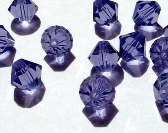 Swarovski Crystal Tanzanite 8mm 5301 Bicone beads -12 pieces