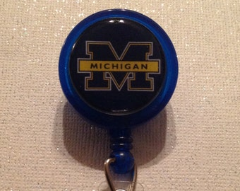 Michigan State Badge Id Reel Holder Lanyard inspired College Designer Crystals or Regular Blue yellow Alligator Clip Birthday Handmade New