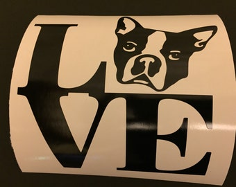 Boston Terrier LOVE decal