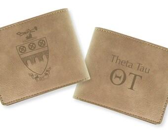 Theta Tau Engraved Wallet (light tan)