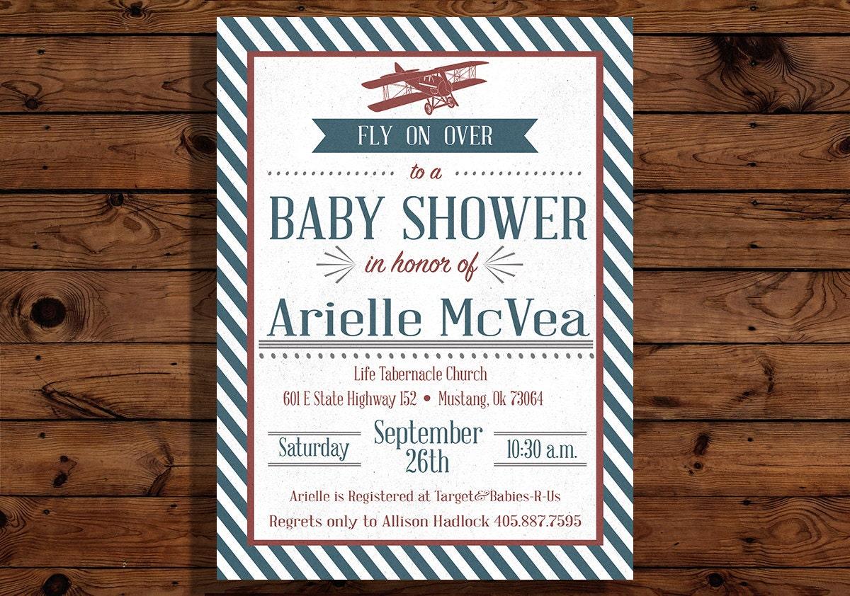 vintage airplane baby shower invitation
