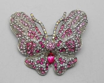 Vintage Figural Pink and Clear Rhinestone Butterfly Brooch