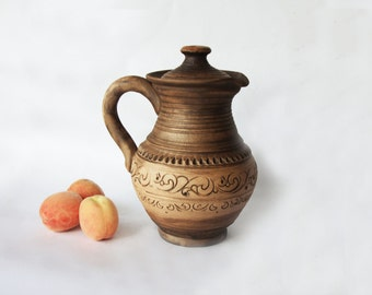 Rustic ceramic Jug Redware Pitcher Handmade Jar Unglazed pitcher Art pottery Serving dishes Juice jug Milk jar