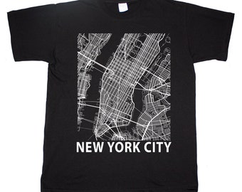 New York City Big Apple Street Map T shirt