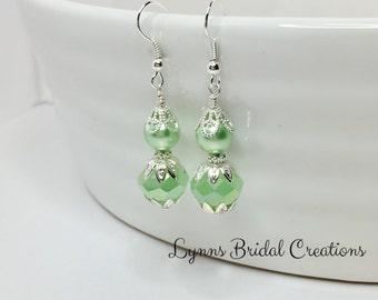 Mint Green Drop Earring Pearl Earrings Crystal Drop Earrings Wedding Jewellery Bridesmaid Gift Green Bridesmaid Gift Mother of the Bride