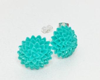 Green Jade Flower Earrings Resin Earrings Wedding Jewellery Jade Dahlia Earrings Bridesmaid Gift Flower Girl Mother of the Bride Gift