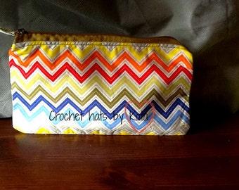 Chevron Print Pencil Case,Zip Pouch,Make up Bag,