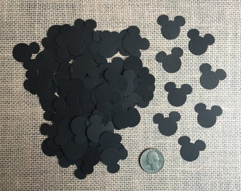 100 Mickey Mouse Confetti Die Cuts - Black