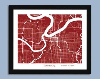 Kansas City Wall Art map of kansas city | etsy