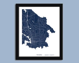 Victoria map, Victoria, BC city map art, Victoria wall art poster, Victoria decorative map