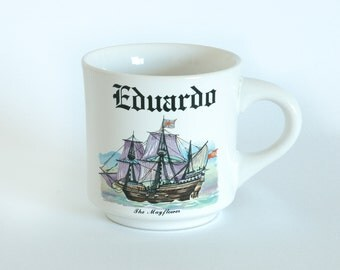 "Vintage Personalized Eduardo ""The Mayflower"" Ceramic Mug"