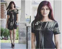 T-shaped style Dress/Shirt Dress/Women Black Dress/Shift Dress/Fitted Silhouette Dress/Boat Neckline Dress/ Two Side Pockets Dress