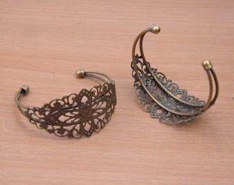 5pcs bangles finding,bronze bangle,filigree flower bracelet supply,adjustable metal bracelets wholesale.