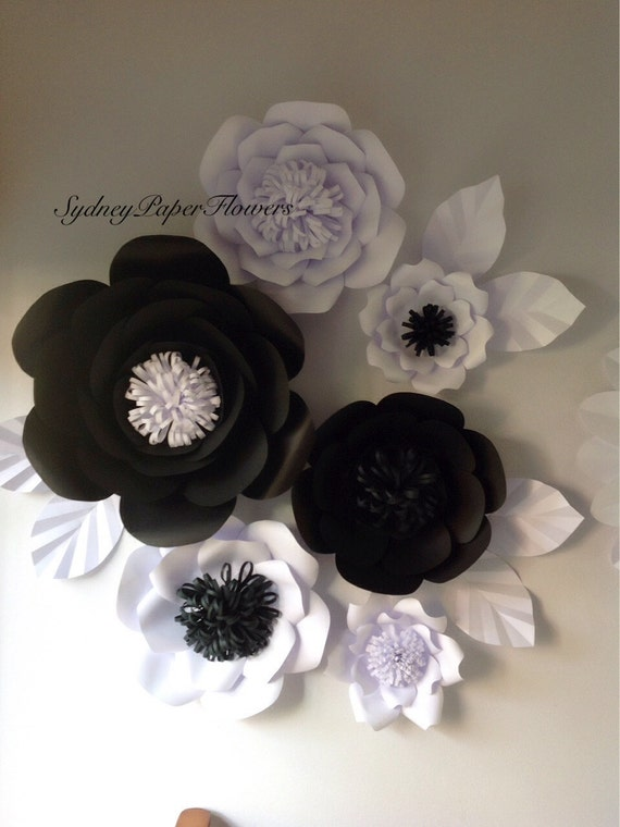 Black white paper flowers paper flower by sydneypaperflowers - Papel de pared blanco y negro ...