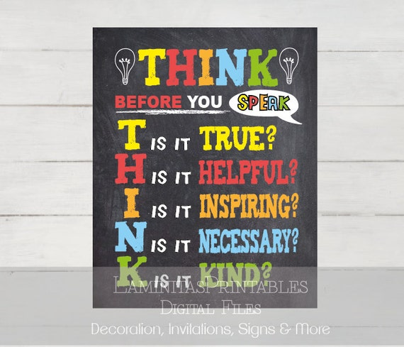 Welcome Classroom Decoration Ideas ~ Think before you speak classroom decor sign