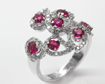 S-Shaped Ruby and Diamond Ring