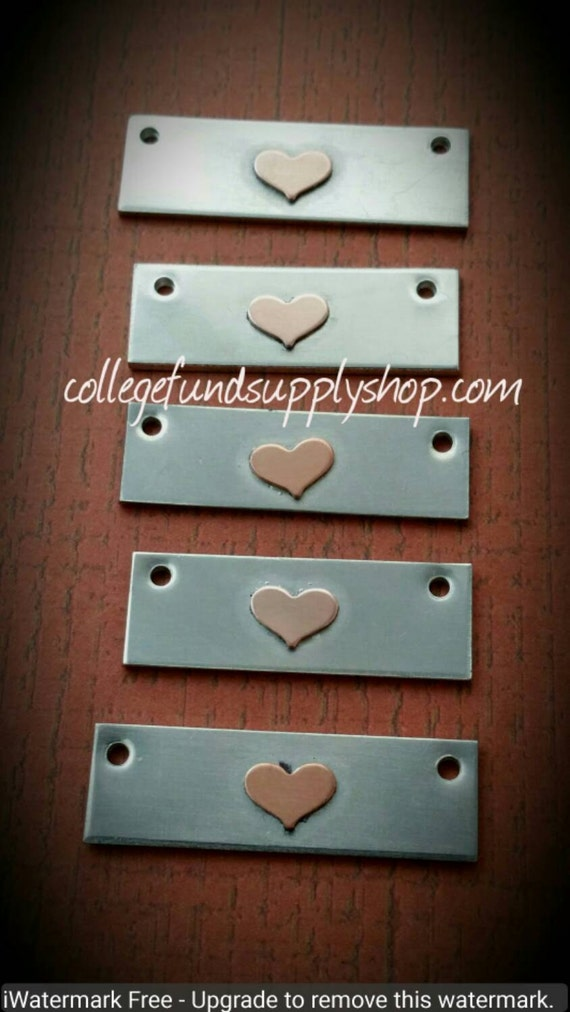 FLAT Pewter Bar with COPPER Heart accent, OOAK jewelry supply, copper heart, bar blanks for hand stamped necklace, one of a kind