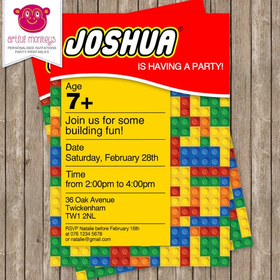 Remarkable image inside lego birthday invitations printable