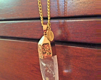 Clear Crystal Quartz Rock Necklace