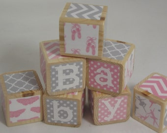 Personalized Ballet Theme Blocks. Baby Blocks. Wood Toy.  Baby Shower Gift. Nursery Decor. Pink and Gray. Bright & Colorful.