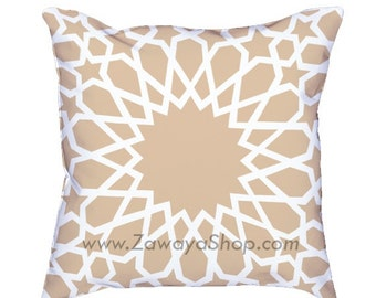 two Contemporary oriental pillows Islamic motif beige and white home decor