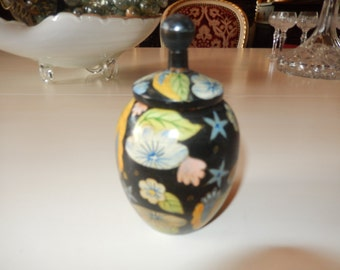 HAND PAINTED WOOD Container with Lid