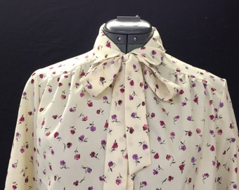 Vintage floral blouse with removable tie