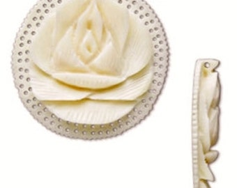 Carved Pendant, Carved Bone, Lotus Flower, Bone Pendant, white, 35.5x8.5mm, 1 each, D681