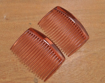 20pcs Hair combs,Plastic Hair Combs,brown plastic Hair Combs (19 teeth) 66mmx45mm.