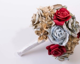 Paper flowers, Origami bouquet, , map rose flower bouquet, origami flowers, wedding bouquet, music kusudama flowers, boutonniere,