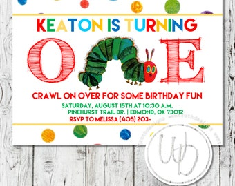 Hungry Caterpillar Birthday Invitation, Polka Dot Birthday Invitation, Child Birthday Invitation, First Birthday Invitation, Boy Invitation