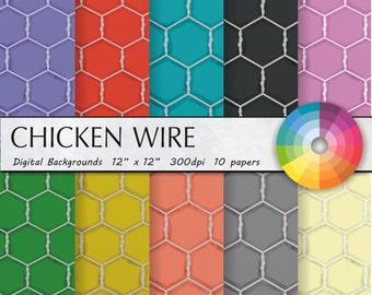 Farm digital paper chicken digital paper chicken wire digital paper country digital paper