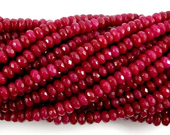 Ruby Jade Beads, Approx 4 x 6 mm Faceted Rondelle , 15 Inch, Full strand, Approx 96 beads, Hole 1 mm, A quality (211024008)