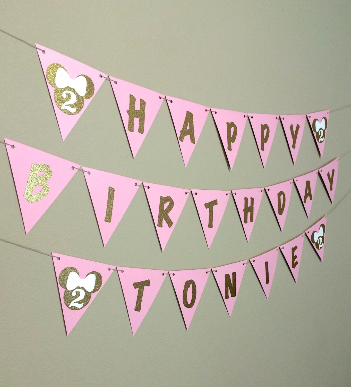 Custom Happy Birthday Banner Pink And Gold Glitter Red Black
