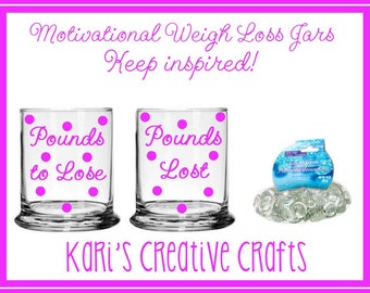 Motivational Weight Loss Jars, Inspirational Jars, Dieting Inspiration, Custom Jar Set