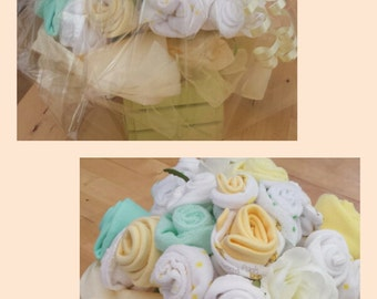 Neutral Baby Bouquet made using clothes