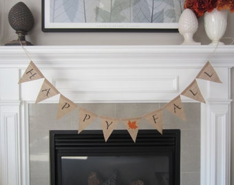 Happy Fall burlap banner - Fall banner with orange maple leaf