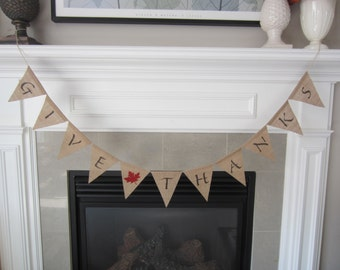 Give thanks burlap banner - Thanksgiving banner with red maple leaf