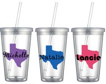 Home state Tumbler, 16 oz Clear Acrylic Tumbler, Vinyl Decal, Texas State Tumbler *All states available!!!!