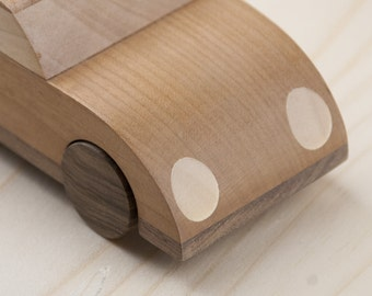 Wooden car: handcrafted Beetle-inspired wood toy