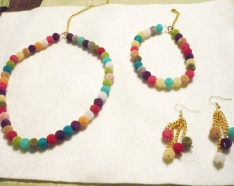 Polychromatic whimsy necklace, bracelet, and earring set