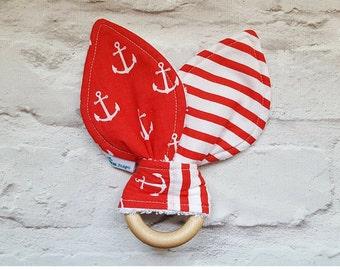 Natural Wood Teething Ring - Bunny Ears Teether - Nautical Teether - Red - Baby Boy