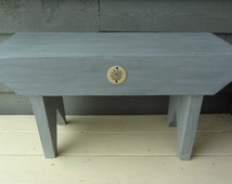 """Country Style Bench/28"""" Long Chalk Paint Finish/Robbin Egg Blue and Personalised Metal Flower Tag"""