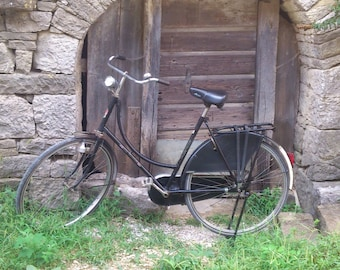 Vintage Woman Bicycle Old Veteran From The 70s Seventies Style Bike Grandmothers Bicycle Antique