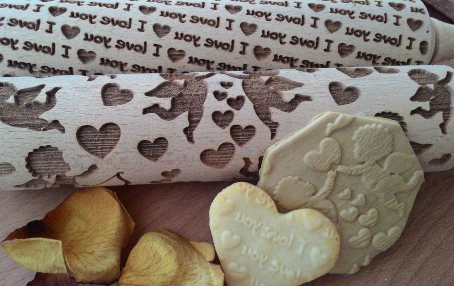 Wooden Rolling Pin Laser Cut Rolling Pin Love Design by ...