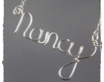 Nancy Wire Word Name Pendant Necklace