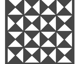 Geometric Four Square Stencil - 12x12
