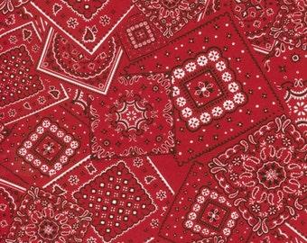 Red Bandana fabric by Moda - One Yard Cut - red, white, black, bandana fabric