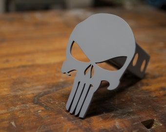 Punisher Trailer Hitch Cover - Powder Coated - Distressed Gray