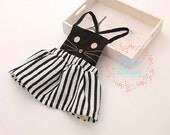 FREE US SHIP! Girls Black and White Kitty Cat Dress, Skirt with Detachable Bib Top